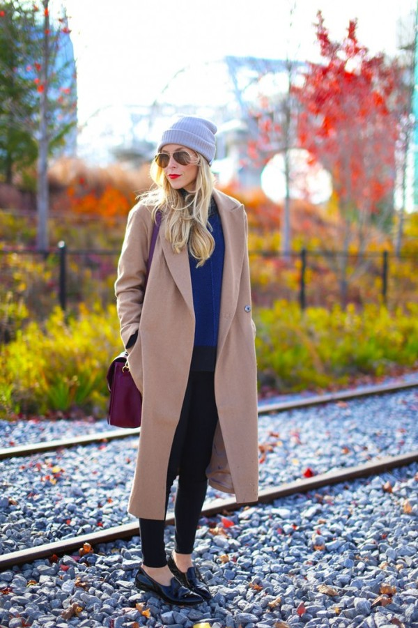 happily grey coat sweater jeans shoes bag