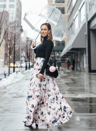 sydne summer's fashion reviews & style tips blogger sweater skirt jewels pajamas bag shoes maxi skirt floral skirt shoulder bag umbrella