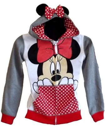 Amazon.com: Minnie Mouse Girls Grey 7-16 Zip up Hoodie (7/8): Clothing