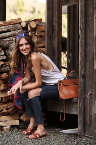 the blonde salad blogger jeans scarf bag boho top
