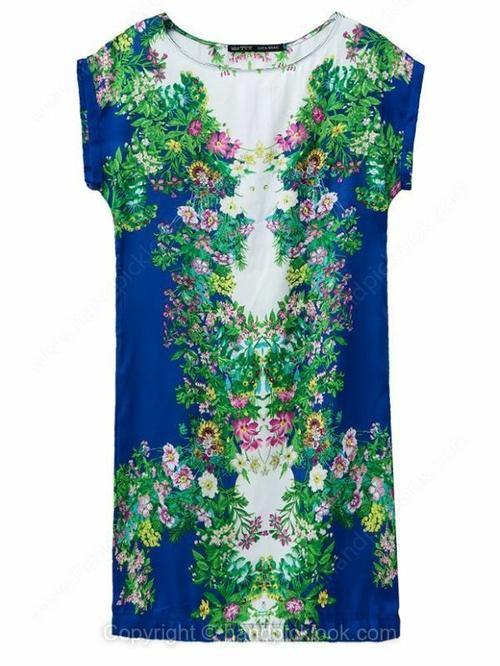 Royal Blue Round Neck Short Sleeve Floral Print Dress - HandpickLook.com