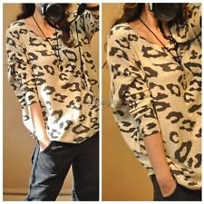 Full Leopard Print Batwing Long Sleeve Pull Over Sweater Top Casual Comfy 35DI | eBay
