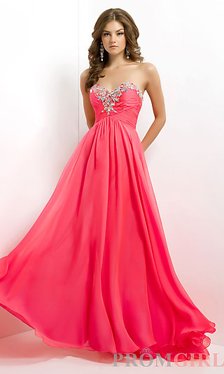 Blush Long Strapless Prom Dress, Strapless Pageant Gown- PromGirl