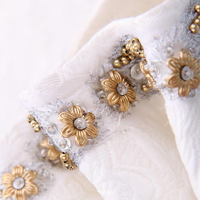 White Long Sleeve Metal Beading Neckline Retro Print Dress - Sheinside.com
