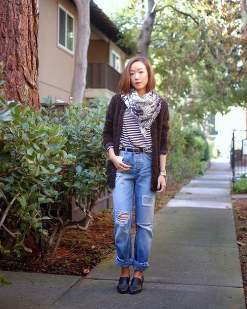 monkeyshines blogger cardigan ripped jeans fuzzy sweater
