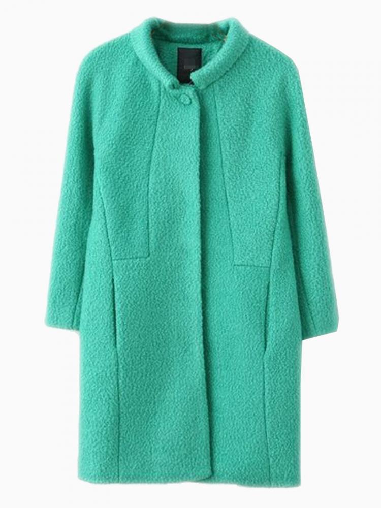 Green Woolen Longline Coat | Choies