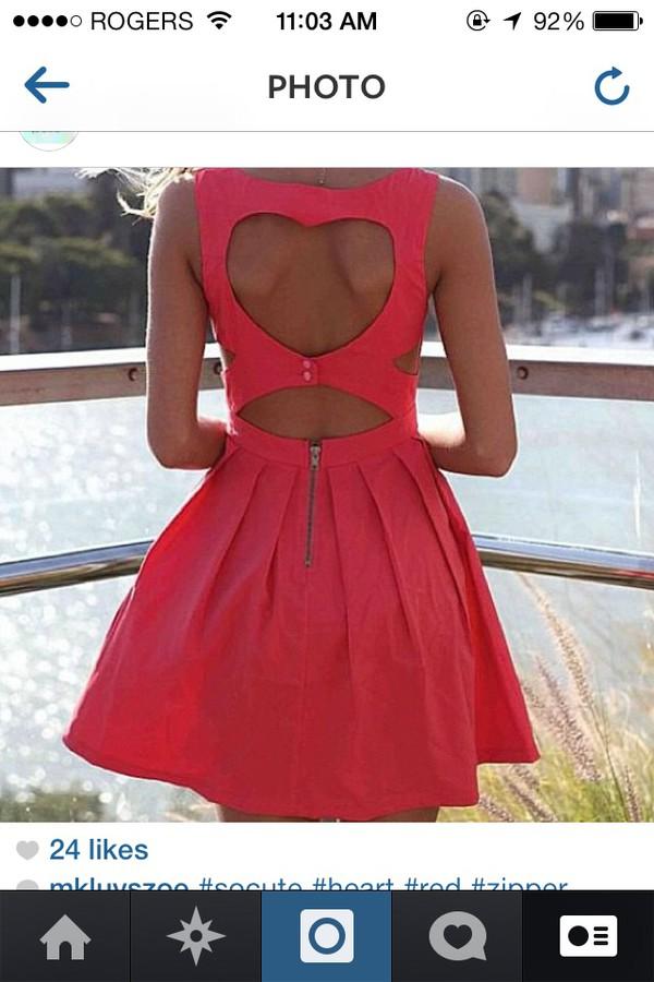 dress coral dress summer dress fashion heart cut out