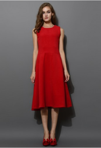 Red Wool-blend Full Midi A-line Dress - Retro, Indie and Unique Fashion
