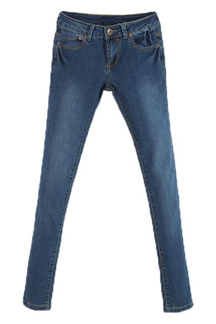 ROMWE   Zippered Slim Blue Denim Pants, The Latest Street Fashion