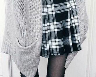 skirt black white grey school girl cute black and white