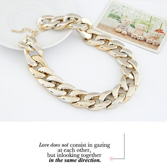 Min Order $10(Mix Order)Europe and America Style Newest Shiny Cut Light Gold Plated Chunky Aluminium Curb Chain Necklace-in Chain Necklaces from Jewelry on Aliexpress.com