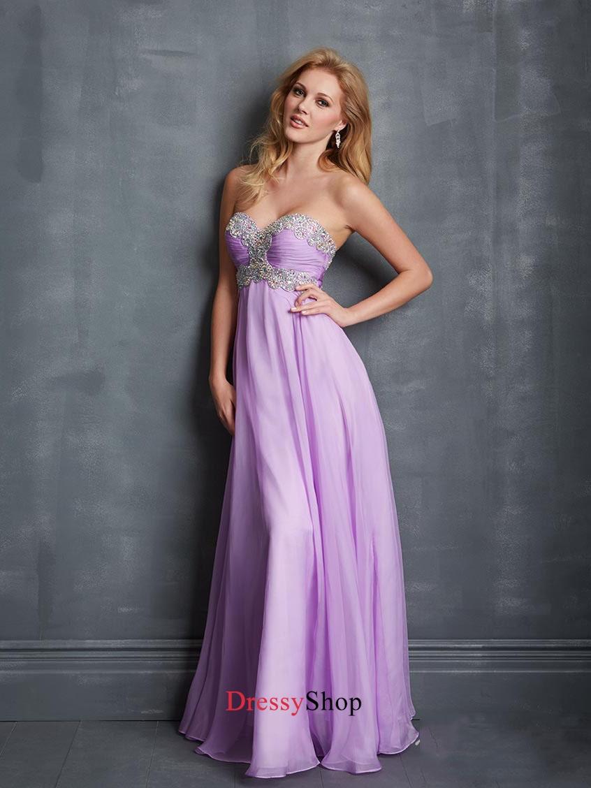 Beautiful Lilac Sweetheart Ruched Bodice Beadings Chiffon Prom Dress PD11393