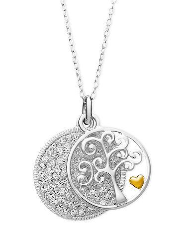 Inspirational Sterling Silver Necklace, Crystal Family Tree Pendant - Silver Jewelry - Jewelry & Watches - Macy's
