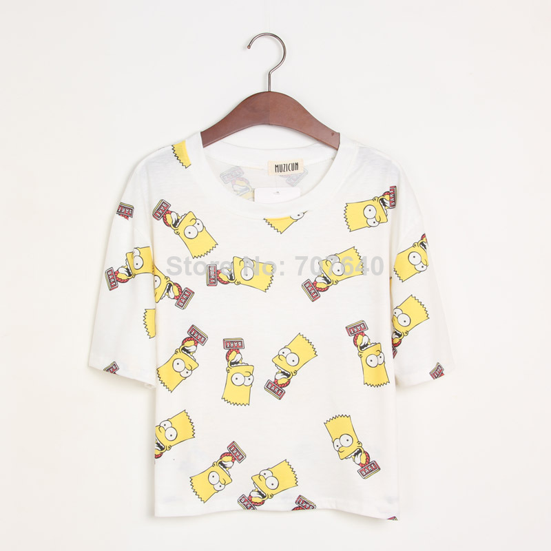 new 2014 t shirt cropped bart simpson women clothing harajuku t shirt punk plus size tops for women simpsons tshirt  crop top-in T-Shirts from Apparel & Accessories on Aliexpress.com