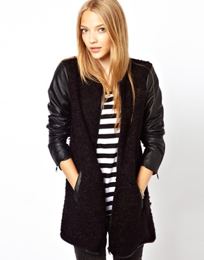 Only | Only Collarless Tweed Coat With Leather Look Sleeve at ASOS