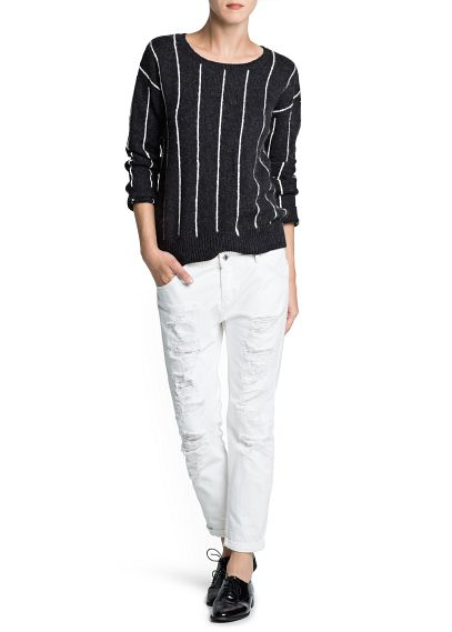 MANGO - NEW - Pinstripe wool cotton-blend sweater