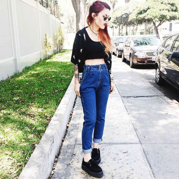 jeans 90s style grunge shoes cardigan