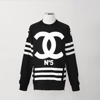 sweater black chanel inspired coco sweater chanel purse chanel guys black chanel coco sweaterer chanel black chanel sweater no5 chanel no 5 no 5 chanel sweatshirt sweatshirt black and white