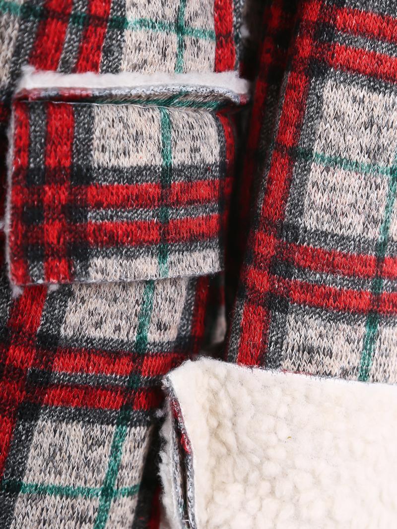 Red Grey Wool Lapel Plaid Long Sleeve Coat - Sheinside.com