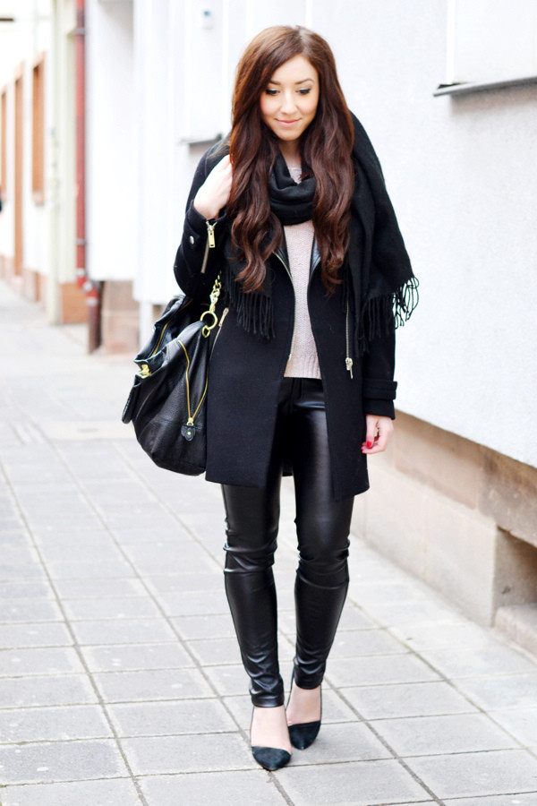 flirting with fashion coat sweater pants shoes bag scarf jewels