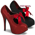 Red Glitter Platform * Teeze-04G - Black Glitter Platform Pump