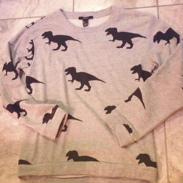 sweater hipster dinosaur t-rex cute kawaii white ariana grande vintage girly