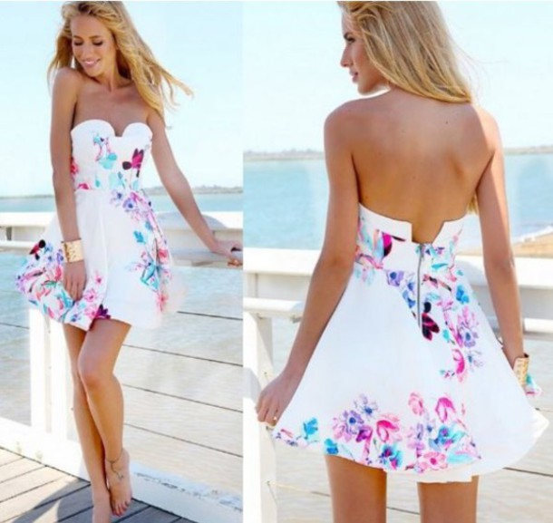 dress white dress short dress swag blogger spring style spring outfits floral dress