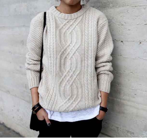 sweater cream amazing knitted sweater autums spring enjoy happy knittedjumper pattern cool