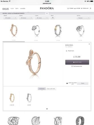 jewels ring rose gold diamonds bow silver nice pandora