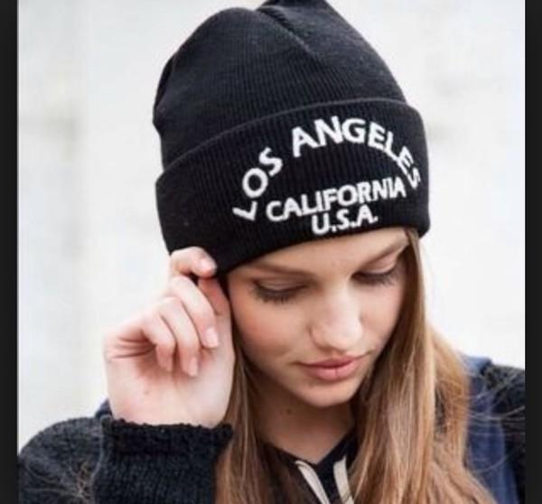 hat brandy melville black los angeles beanie california usa usa usa