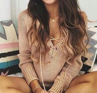 sweater beige tan lace up top