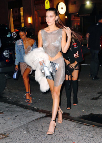 dress silver metallic bella hadid sandals fur crop tops mini skirt mini dress model off-duty shoes