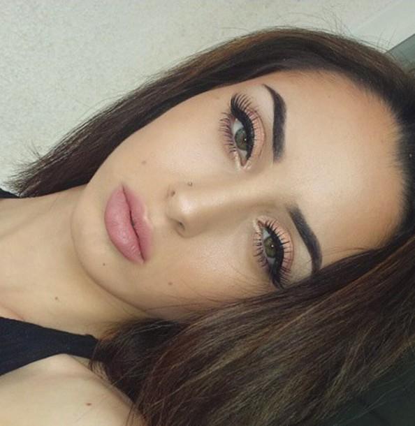 make-up sahlt_ wing eyeliner she so pretty pink pink pastes eyebrows fleek shimmer eyelashes brunette