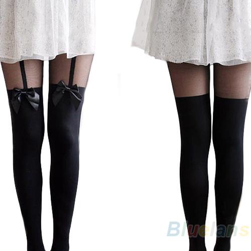 Fashion Vintage Tights Pantyhose Tattoo Mock Bow Suspender Sheer Stockings Bhau   eBay