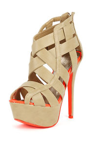 New Liliana Luxy 9 Tan Orange Strappy Caged Sandal | eBay