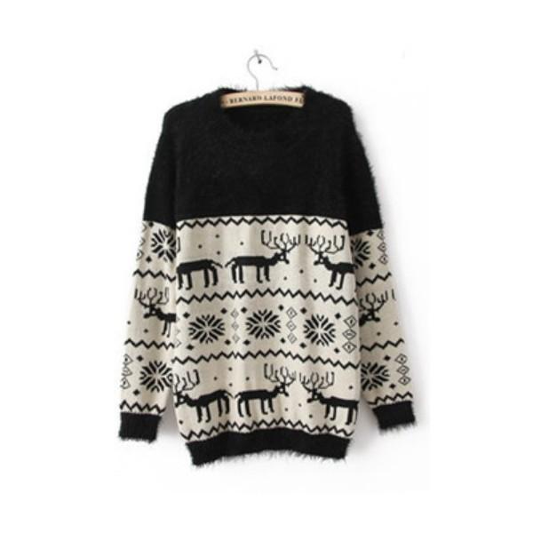 Black Long Sleeve Deer Snowflake Embroidery Sweater - Polyvore