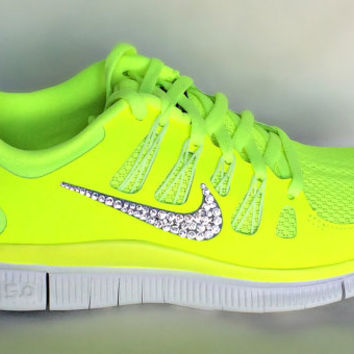 Nike Free Run 5.0 shoes Volt/GreySummit White with Swarovski crystal details on Wanelo