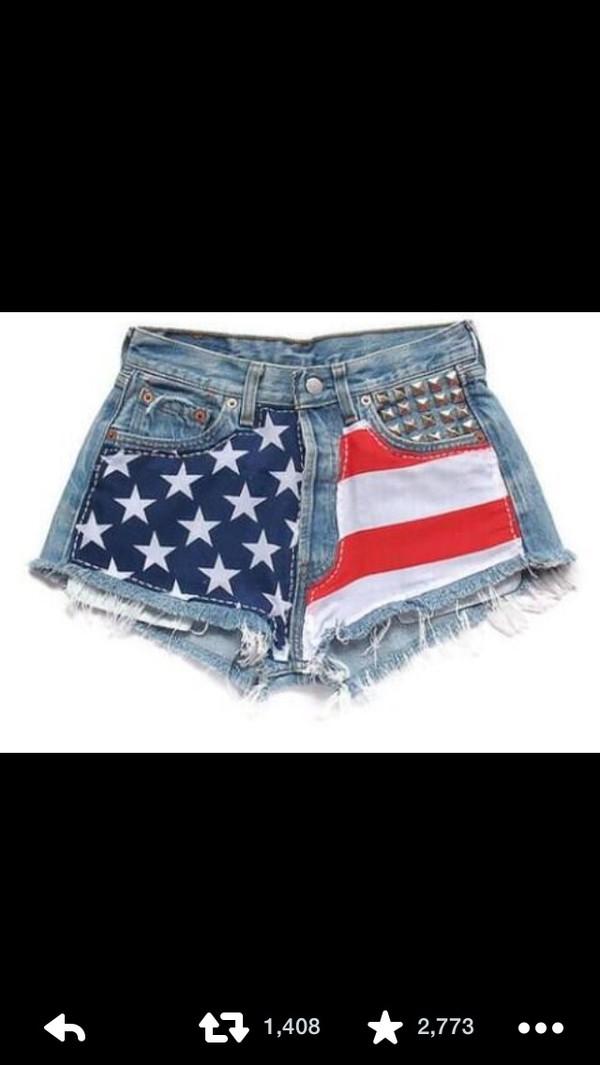 denim shorts american flag shorts