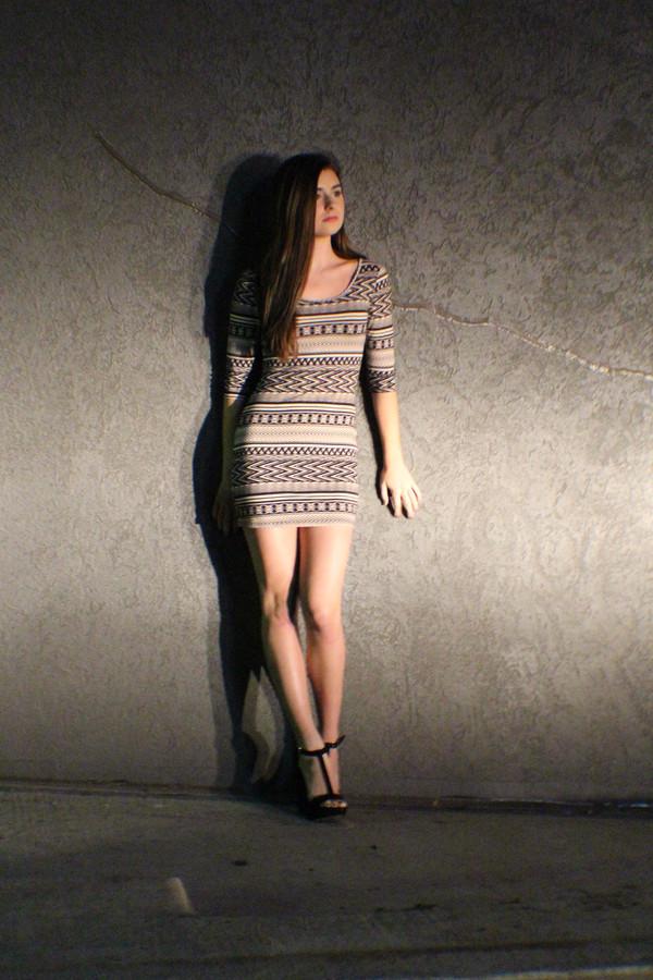 dress aztec aztec dress cute dress bodycon bodycon dress tribal pattern tribal print dress