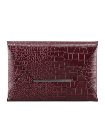 BCBGMAXAZRIA | Crocodile-Embossed Envelope Clutch, Burgundy - CUSP