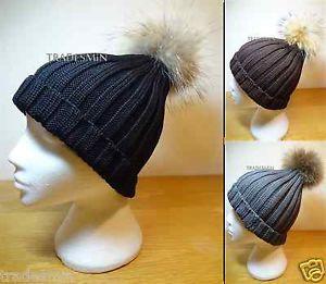 Ladies Mens Unisex Knitted Wool Beanie Hat Genuine Raccoon Fur Pom Pom Ball   eBay