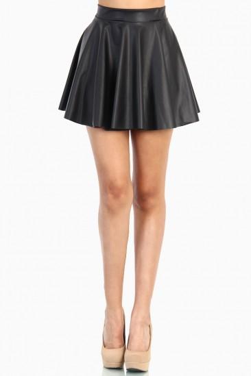 LoveMelrose.com From Harry & Molly   Plus Black Leather Skater Skirt
