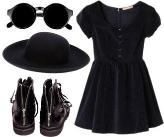 dress black black velvet black velvet dress goth black dress babydoll dress grunge little black dress