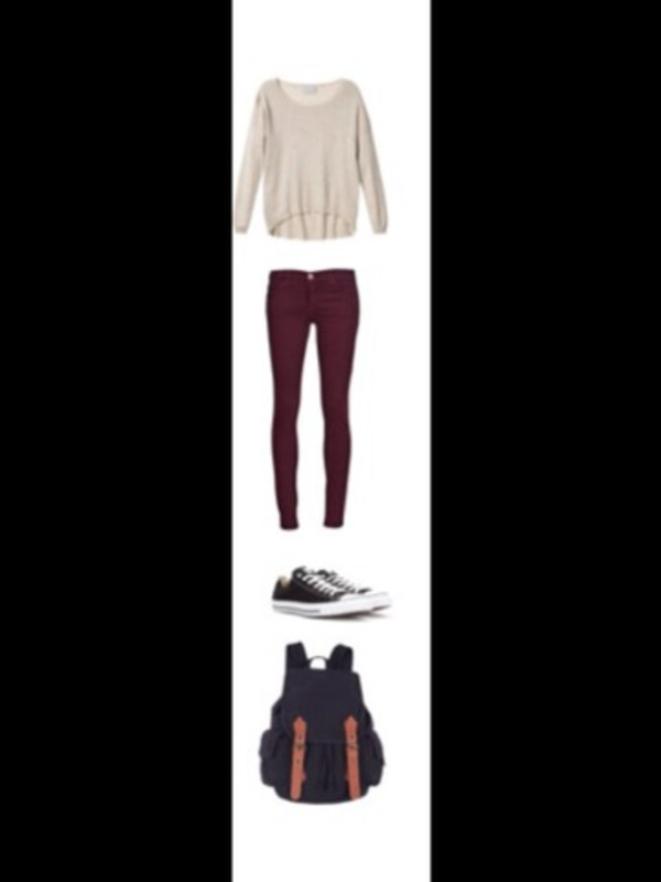 blouse brown tan red pants jeans