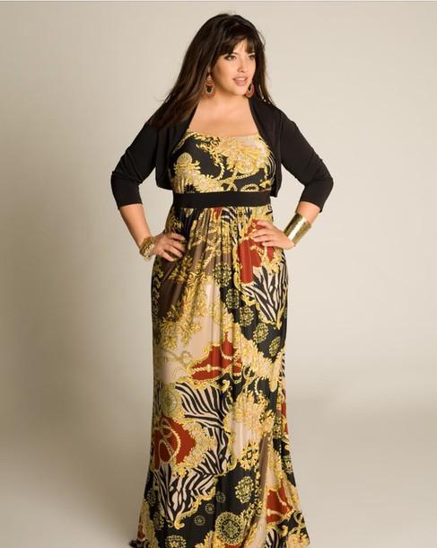dress plus size dress floral animal print long dress