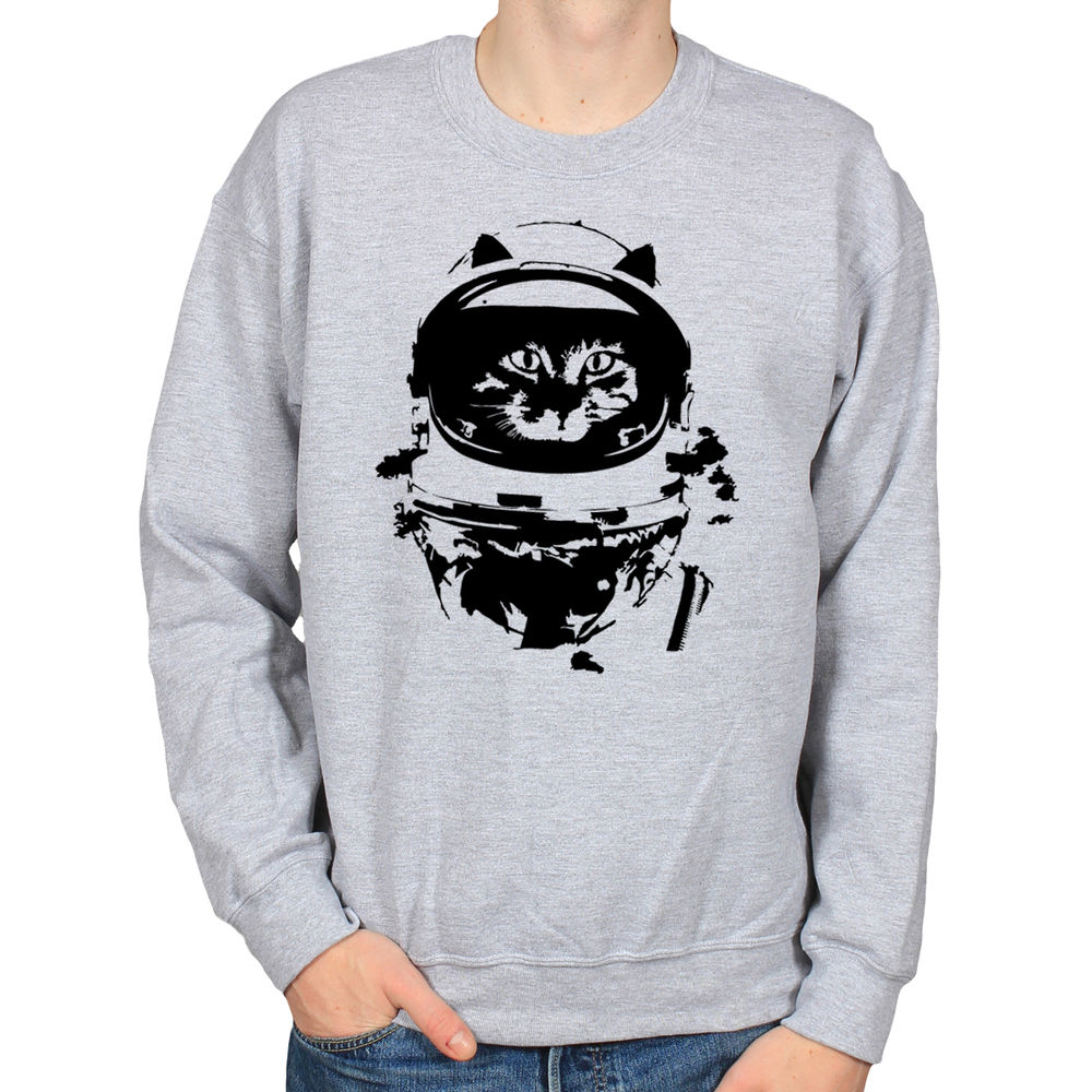 Astronaut Kitty Monochrome Space Kitten Cat Hipster Mens Crew Neck Sweatshirt | eBay