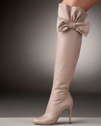 Valentino Bow-Topped Over-the-Knee Boot - Neiman Marcus