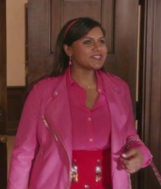 jacket the mindy project mindy kaling earrings shirt pink skirt pink