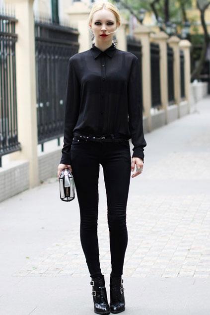 Sexy Sheer Long Sleeve Slim Blouse - OASAP.com