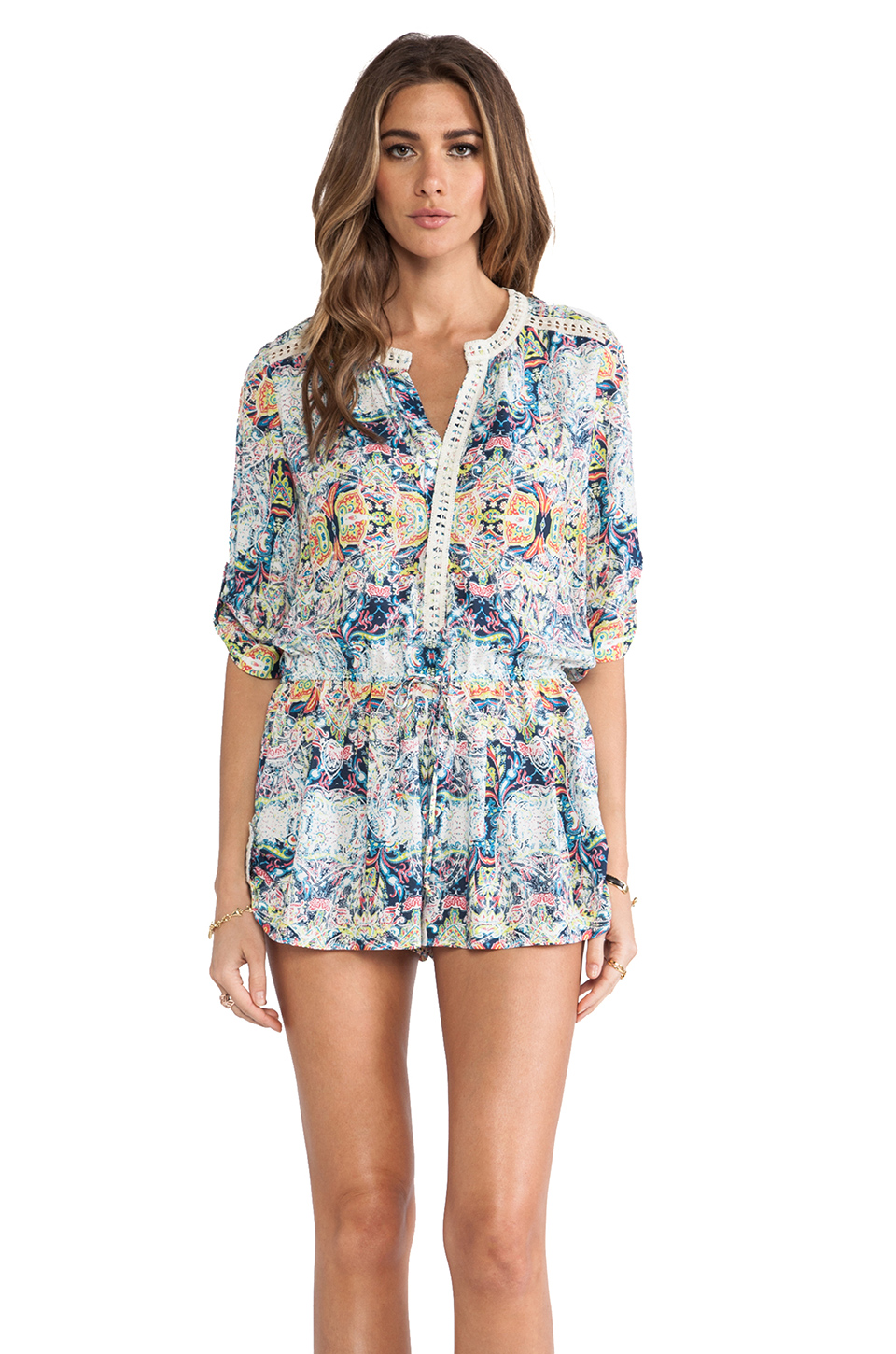 Twelfth Street By Cynthia Vincent Lace Inset Romper in Indian Paisley   REVOLVE